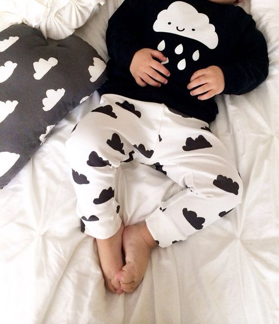 Organic Baby Leggings Black and White Cloud Made by DreamElephant