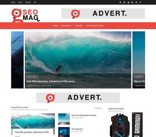 Download Premium Theme Blossomtheme Seo Mag Blogger Blogspot Template Gratis Responsive Kreatif