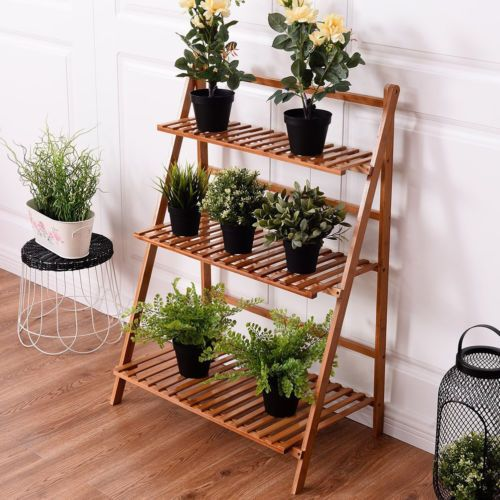 36 11 3 tier bamboo staircase stand specification material natural wooden color light brown single shelf loa plant stand planting flowers bamboo plants pinterest