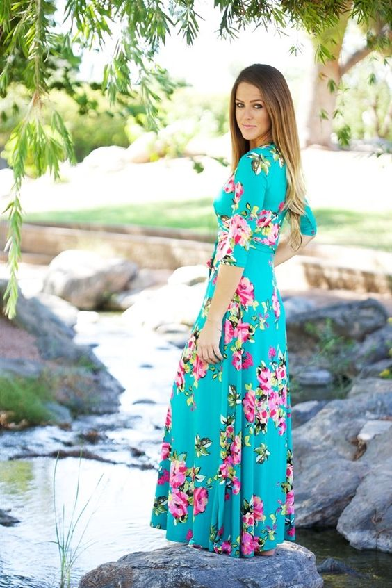 Modest Maxi Wrap Dress: