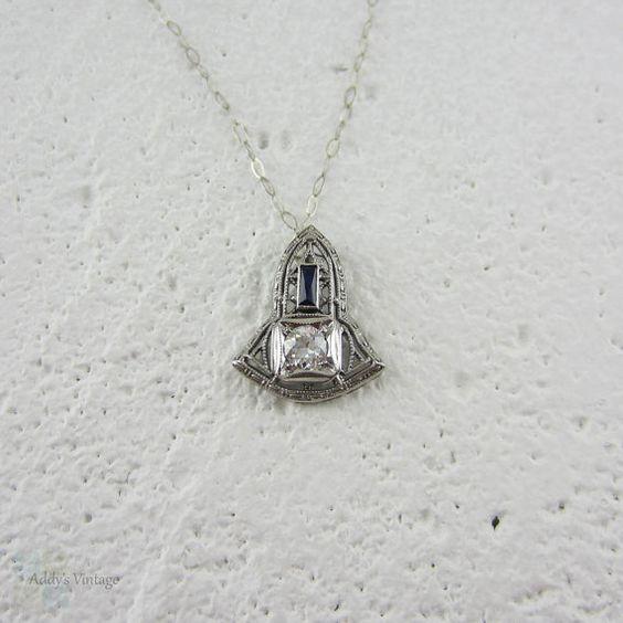 Vintage European Cut Diamond & Baguette Sapphire Pendant. by Addy, £285.00