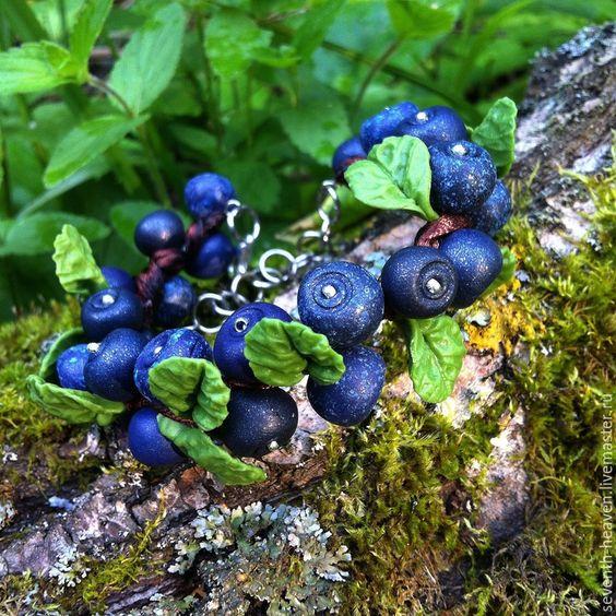 Купить Браслет из полимерной глины АРОМАТЫ ЛЕСА.ЧЕРНИКА - тёмно-синий, черный, браслет из пластики