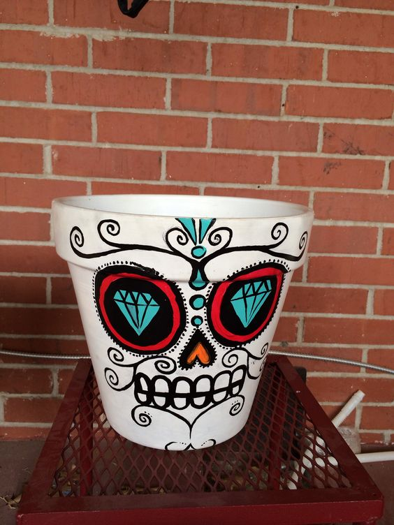 Sugar skull plant pot | Sugar Skulls - Ideas/Prints ...