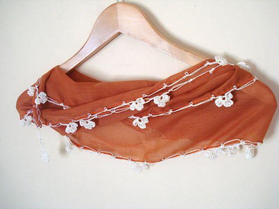 Burnt Orange Elegant Scarf Cotton Scarf Crocheted Scarf by bypasha, $13.90
