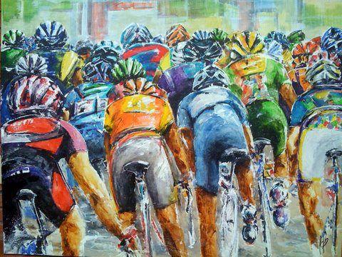 Ciclistas Bia Betancourt (Brasil, 1963) acrílica sobre tela