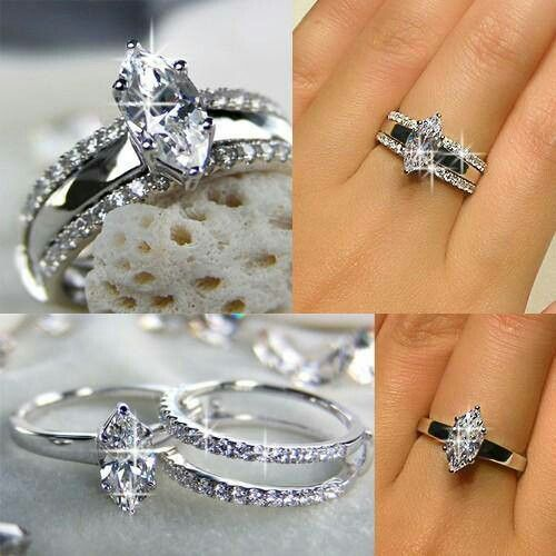 Unique wedding ring idea. Not a fan of the style of diamond (prefer square) but very neat idea!!