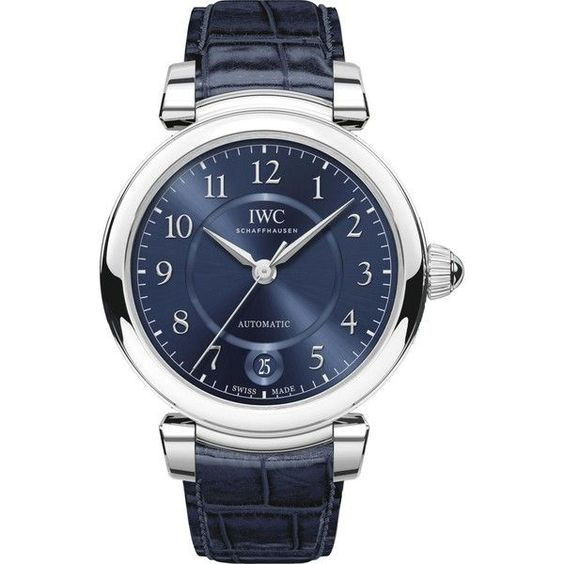IWC IW458312 Da Vinci Automatic 36 stainless steel and leather watch ($5,195) ❤ liked on Polyvore featuring men's fashion, men's jewelry, men's watches, mens leather watches, retro mens watches, men's blue dial watches and mens stainless steel watches #menswatchesfashion