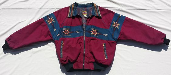 Vtg Made In USA Multi-Color Retro Bomber Jacket BEE WILD Cotton Geometric Coat L #BeeWild #FlightBomber