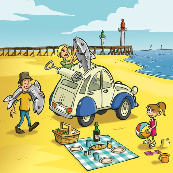 2cv pic nic sardine trouville plage dessin humour maxime. Black Bedroom Furniture Sets. Home Design Ideas
