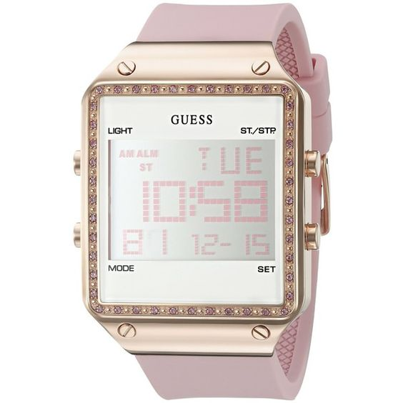 GUESS Women's U0700L2 Digital Pink Silicone Watch with Alarm, Dual... ($125) ❤ liked on Polyvore featuring jewelry, watches, guess jewelry, guess watches, dual time watches, digital wristwatch and pink digital watches