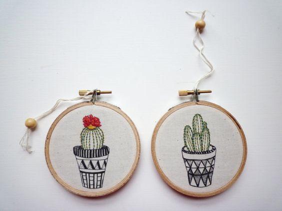 Ricamo moderno 'Cactus 2' 3 pollici Hoop di CheeseBeforeBedtime