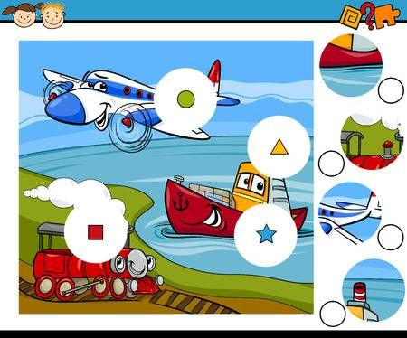 Cartoon Illustration Of Match The Pieces Educational Game For Cartoon Illustration Train Cartoon Cartoon Coloring Pages