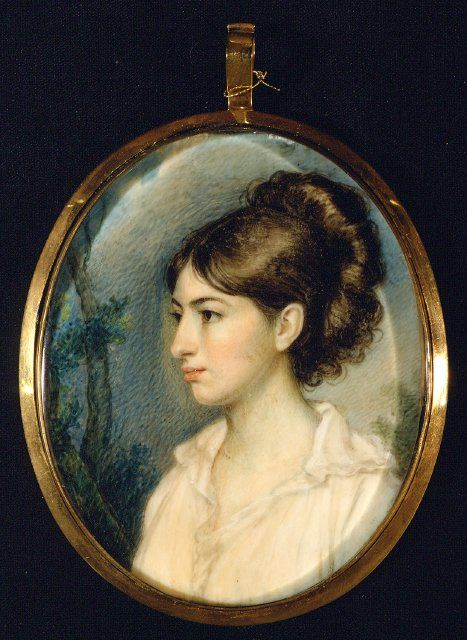 Louisa Charlotte Izard(?) -- Portrait Miniature -- Circa 1801 -- Edward Greene Malbone -- Watercolor on ivory -- 3 1/8 x 2 1/2 inches -----Gibbs Museum of Art -- Charleston, South Carolina (The way he had colored her and drawn her lovely hair she could be alive today). Placed almost in profile, the sitter becomes a little remote. Details in the background, such as the tree, serve to balance the composition.