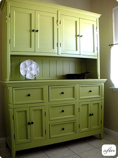 10 Kitchen And Home Decor Items Every 20 Something Needs: Green Cabinets, For The And Kitchen Hutch On Pinterest