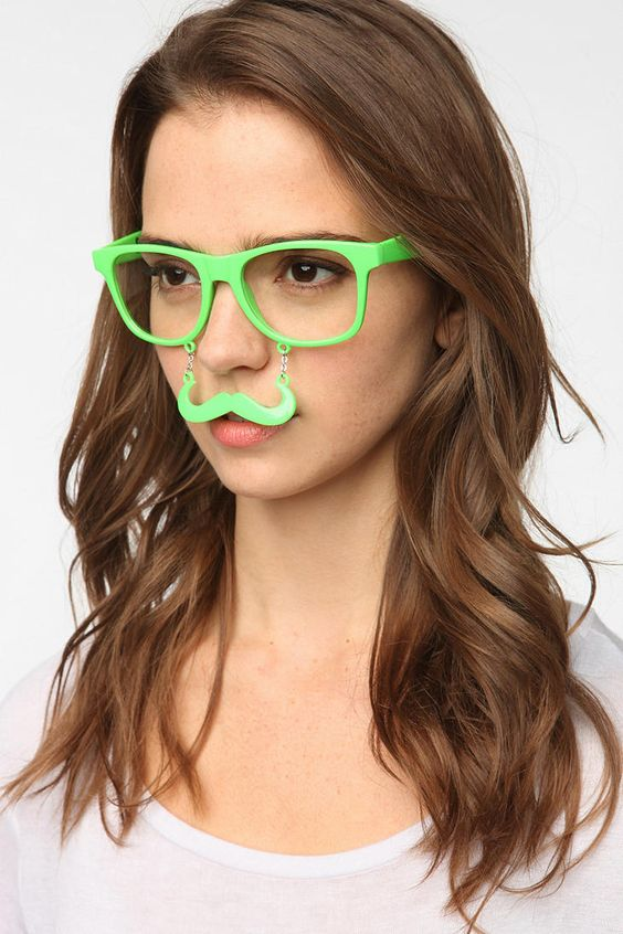 Glow-In-The-Dark Sunstache Sunglasses