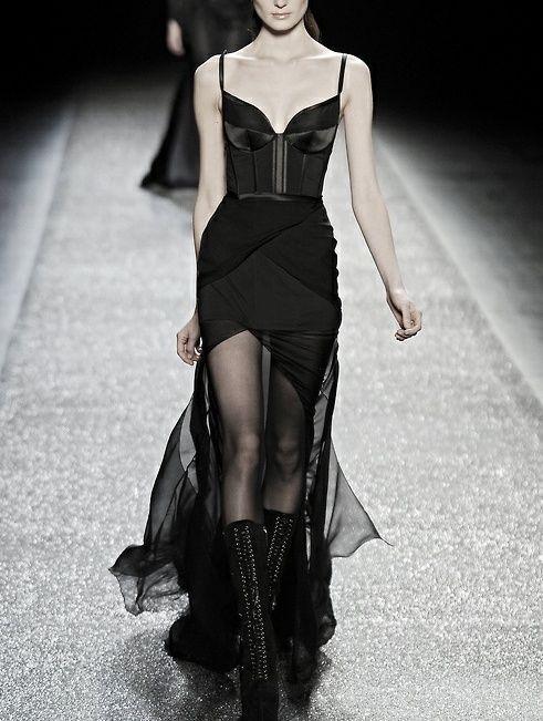 black dress runway