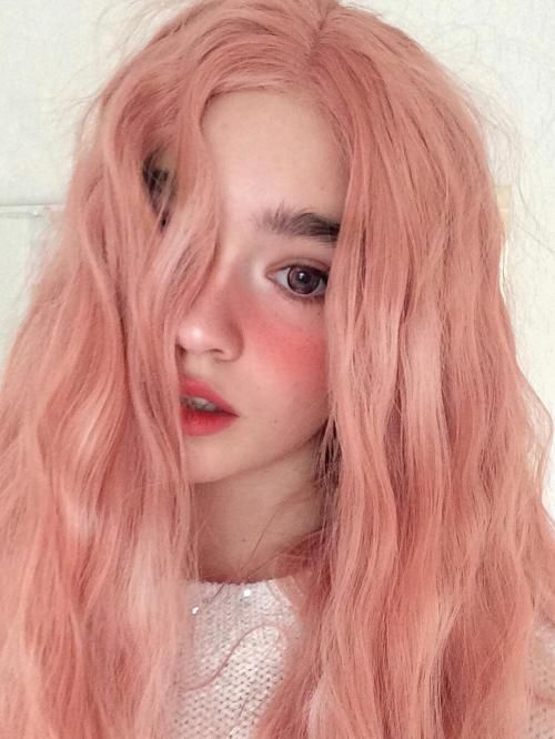 Pastel Light Pink Wig Lace Front Long Wavy For Women Anime Cosplay Halloween Party Everyday Wigs 24 In 60 Cm Color Hair Heat Resistant Long Wavy Hair Red Curly Hair Hair Styles