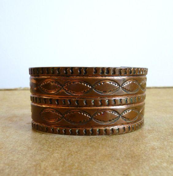 Vintage Arm Cuff Etched Bracelet Southwestern Rustic Boho Chunky Jewelry. $18.00, via Etsy.
