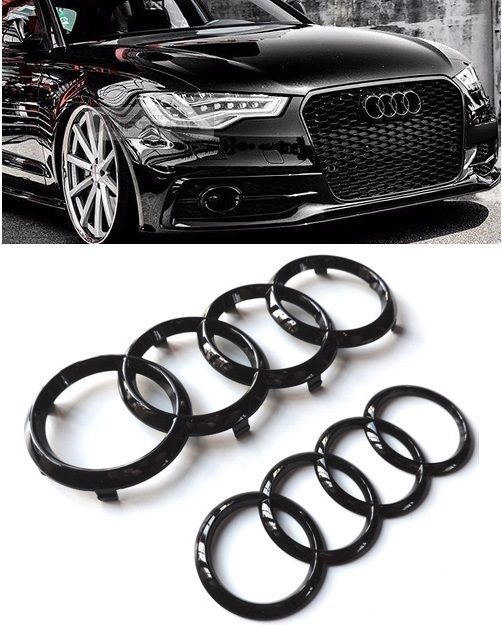 Audi Gloss Black Rear Front Rings Badge Emblems Bonnet Boot A1 A3 A4 A5 S3 Rs3 Vehicle Parts Accessories Car Tuning Styling Black Audi Badge Gloss Black