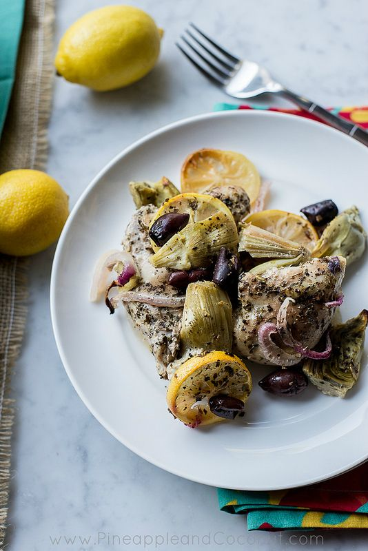 10529875475 8ac386c3df c Oven Roasted Lemon Chicken Thighs with Artichokes and Kalamata Olives