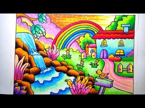 Mewarnai Gradasi Dengan Crayon Pemandangan Alam Rumah Dan Air
