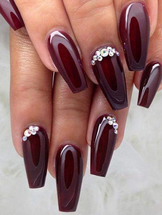 Dark Cherry Red Nails With Bling Rhinestone Nails Burgundy Nails Maroon Nails