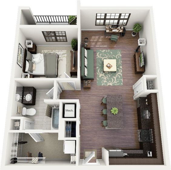 One bedroom apartment floor plans and floor plans on pinterest Home design plans 3d