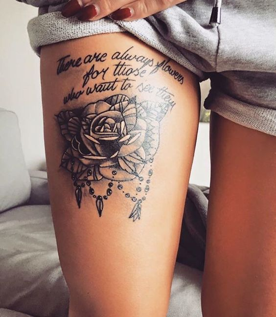 Cool Tattoo Quote Ideas For Girls Thigh Tattoo Quotes Thigh Tattoo Shoulder Tattoos For Women