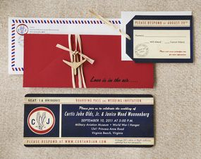 "This unique boarding pass invitation features red, ivory & blue colors with ""Love is in the Air"" throughout for a romantic touch & perfect for your destination wedding."