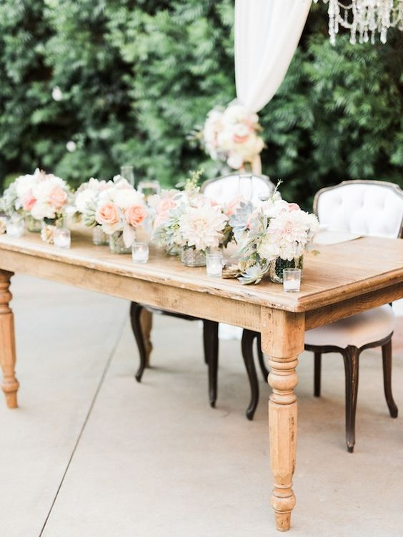 Sweetheart Table  Bachant Table at Found Vintage Rentals. Rustic light wooden farm table seating up to 6 guests
