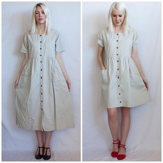 Before and after shot of an altered dress. In before shot: the off-white colored dress with buttons down the front is baggy and well past the models knee's, the baggy sleeves hit her just above her elbows. In the after shot, the sleeves have been cuffed up to a more flattering fit, the skirt has been shortened to just above the model's knees and a pocket on the right side has been added. The model has switched from black, old fashioned, kitten heels to more fun and playful red strappy heels