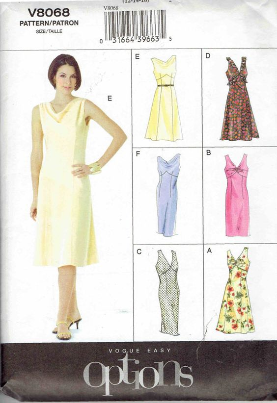 Vogue Easy Options Fitted V-Neck or Cowl Neck Sleeveless A-Line Dress with Raised Waist Pattern 8068. Uncut Sizes 12-16 Bust 34-38 in.