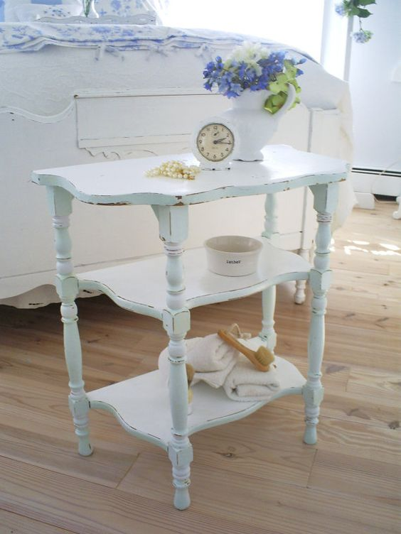 shabby chic table by backporchco on Etsy. Love the pale blue:)
