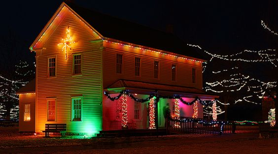 Christmas Lights - Old farmhouse decorated in bright Christmas Lights