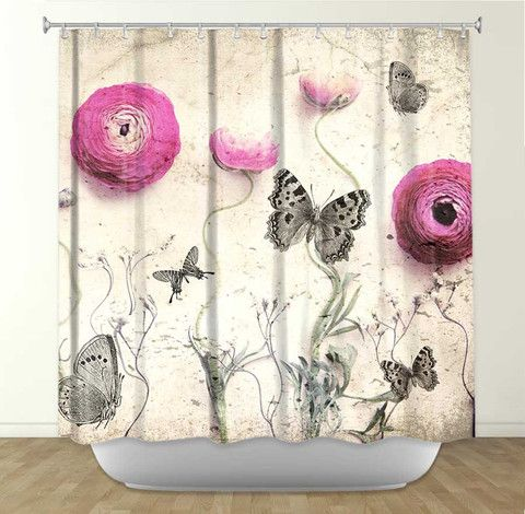 Vintage Butterfly by Monika Strigel Fabric Shower Curtain
