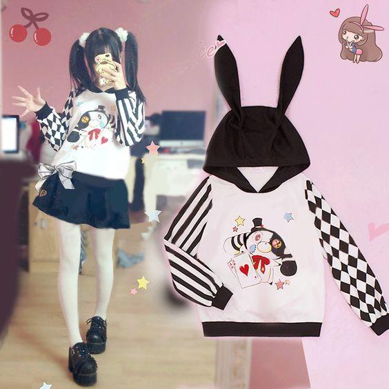 Harajuku printed stripe hooded fleece · Fashion Kawaii [Japan & Korea] · Online Store Powered by Storenvy