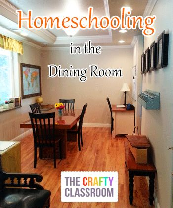 Homeschool in the dining room visual inspiration storing for Homeschool dining room ideas
