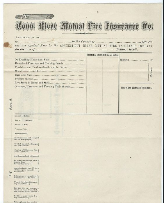 1870s Connecticut River Mutual Fire Insurance Policy Bellows