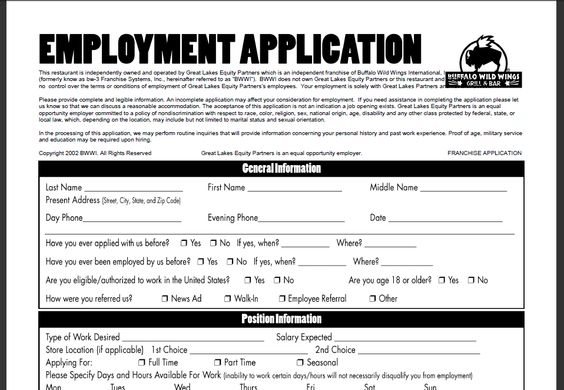 Buffalo Wild Wings Printable Job Application Jobs And Careers - general job applications