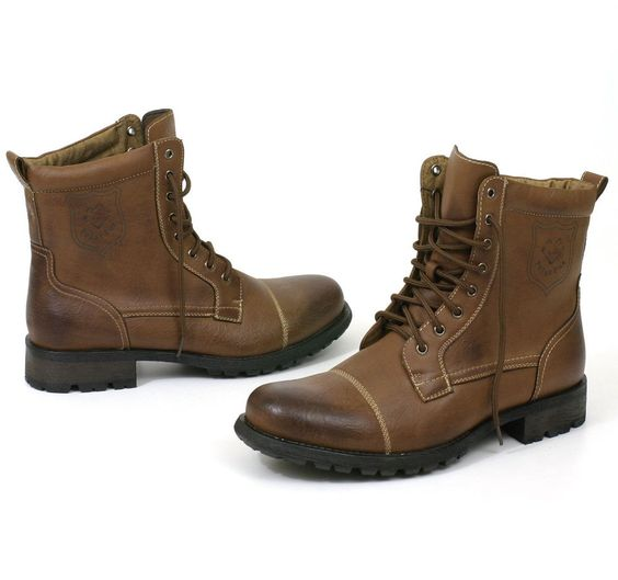 mens boots combat style shoes rugged faux leather