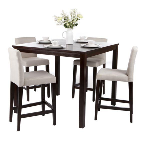 Ensemble Table De Bar 4 Chaises Hautes En Bois De Cuisine Table Table Design Simple Table
