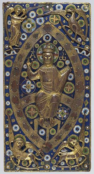 Book Cover Plaque with Christ in Majesty, ca. 1185–1210  French; Made in Limoges  Gilded copper and champlevé enamel