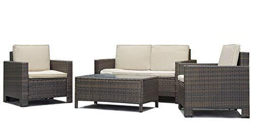 4 Pieces Outdoor Patio Pe Rattan Wicker Sofa Sectional Furniture