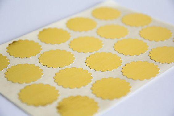 40 gold sticker scalloped circle sticker round paper by papirea, $3.00