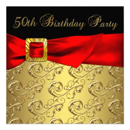 elegant red gold black womans 50th birthday party invites