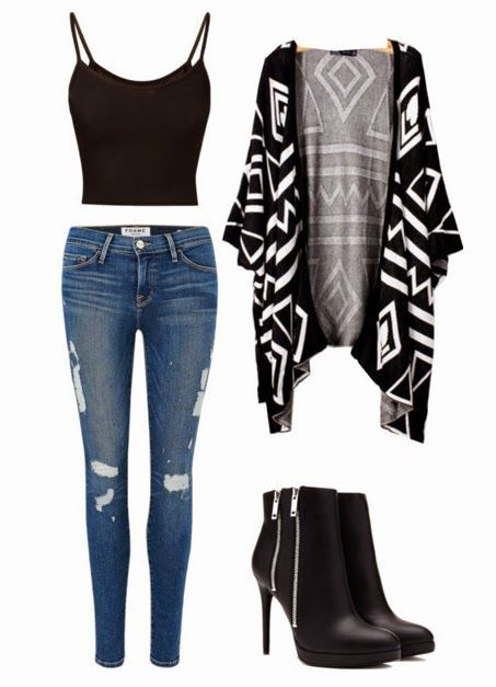 Edgy Cardigan Look Perfect for School, A First Date or Just Looking Hot around Town. (full outfit details at link)