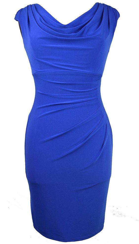 Lauren Ralph Lauren Women's Petite Ruched Cowl-neck Sheath Dress Broward Blue 2p: Amazon Fashion