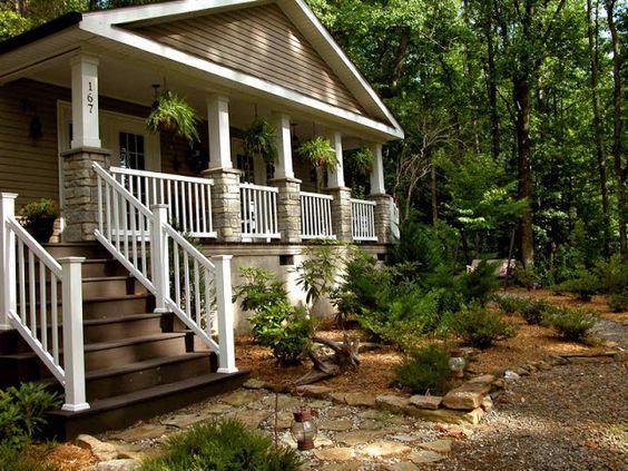 Decks front porch railings and columns on pinterest for Rustic porch columns