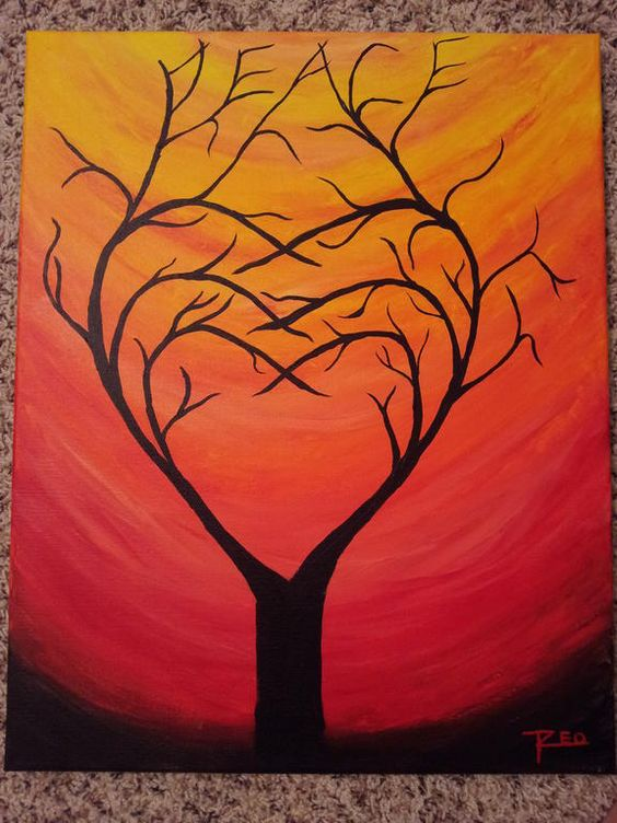 Pix for acrylic painting for beginners tree painting for Painting for beginners