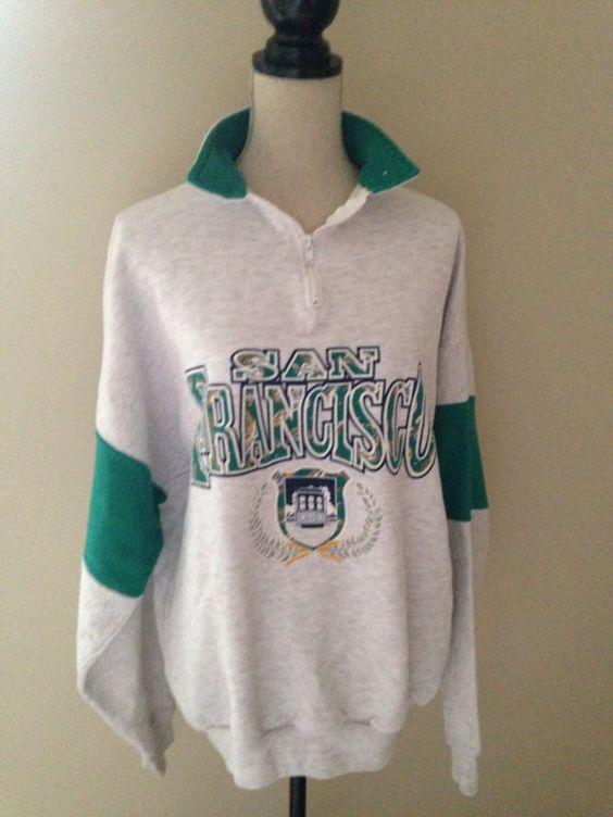 Vintage San Francisco 3/4 Zip 90s Sweatshirt by 21Vintage on Etsy